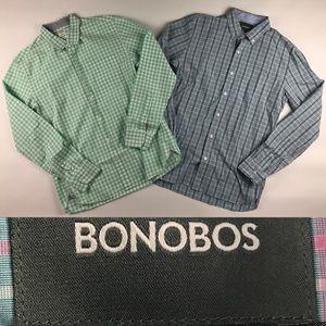 Bonobos Shirt M Green Blue Plaid Slim Fit lot of 2